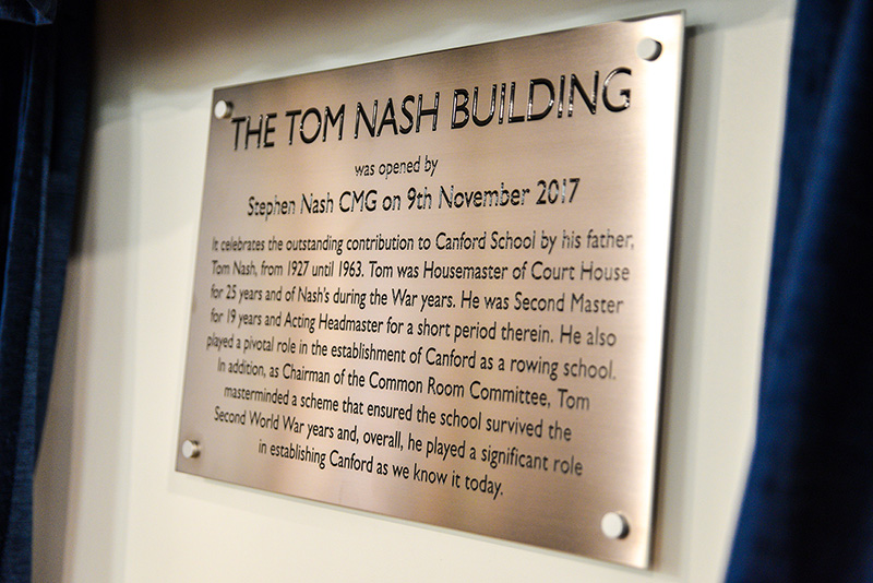 Plaque on the Tom Nash Building, Canford School