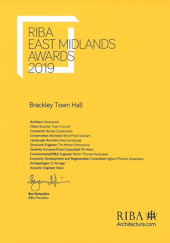 Brackley Hall 2019 RIBA Certificate